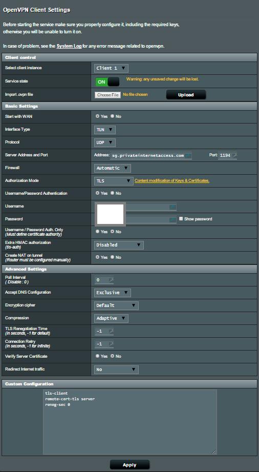 ASUS-WRT privateinternet access configuration details